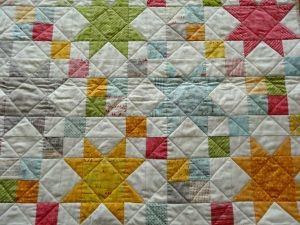 Close up of blocks and quilting